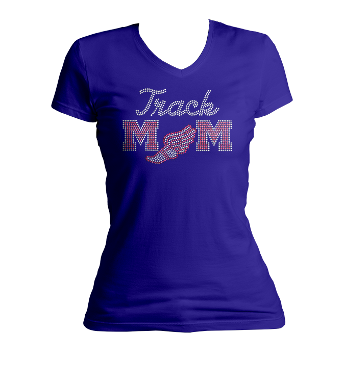 Track Mom Bling V-Neck Shirt