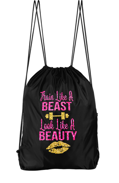 Train Like A Beast Look Like A Beauty Drawstring Backpack
