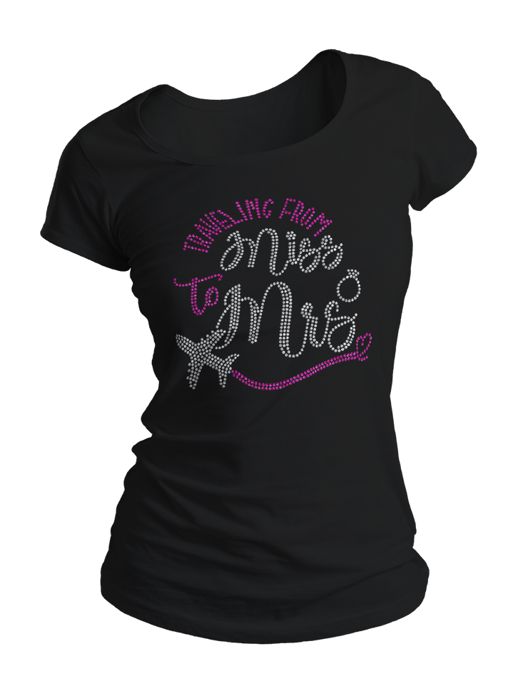 Traveling From Miss to Mrs. Bling Crew Neck Shirt