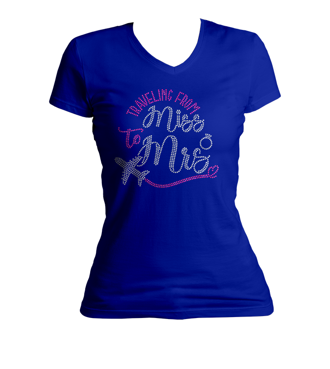 Traveling From Miss to Mrs. Bling V-Neck Shirt