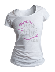 Traveling From Miss to Mrs. w/Wedding Date Bling Crew Neck Shirt