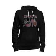 Georgia Girl w/Football Rhinestone Ladies Hoodie