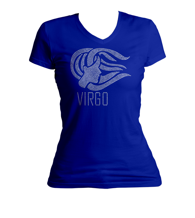 Virgo Horoscope Bling V-Neck Shirt