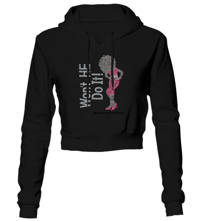 Won't He Do It Rhinestone Cropped Hoodie