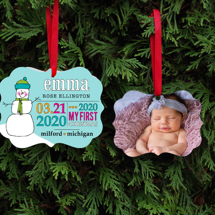 Baby's First Christmas Keepsake Ornament - Teal