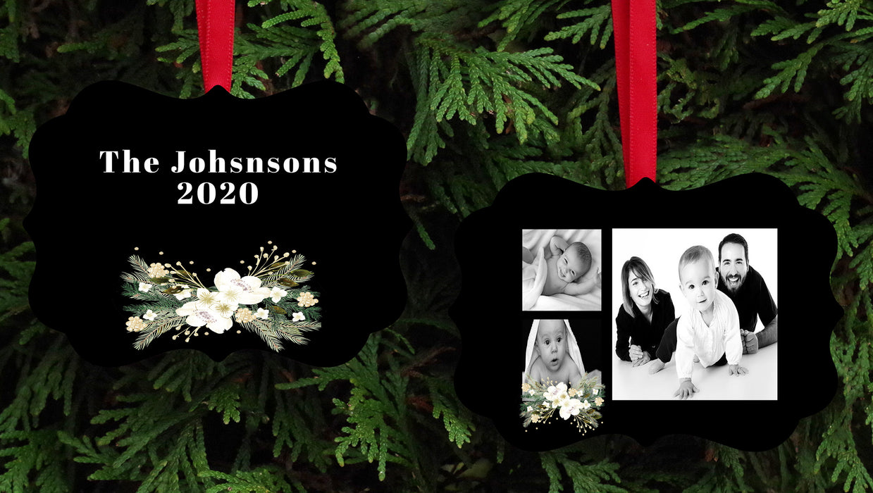 Black Christmas Picture Frame with front and back design