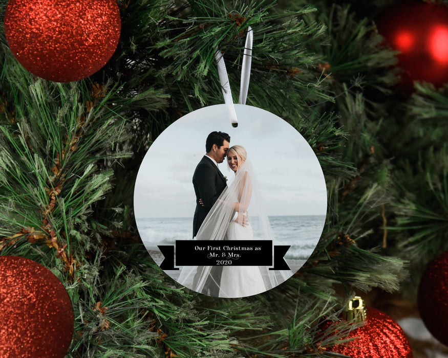 Our First  Christmas as Mr. & Mrs. - Photo Ornament