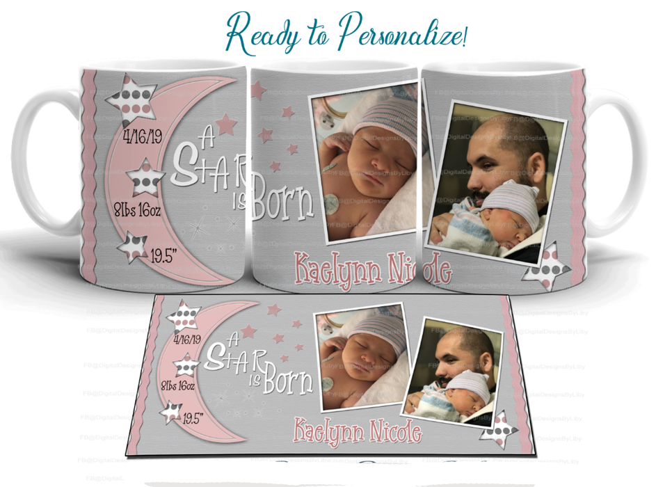 A Star is Born! Baby Announcement Mug - Pink