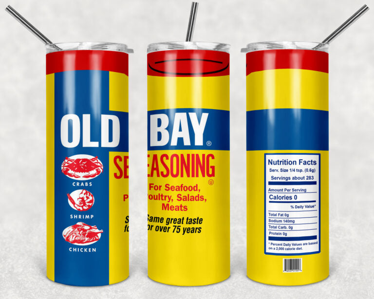 Old Bay 20oz, Stainless Steel Tumbler, with clear lid and metal straw.