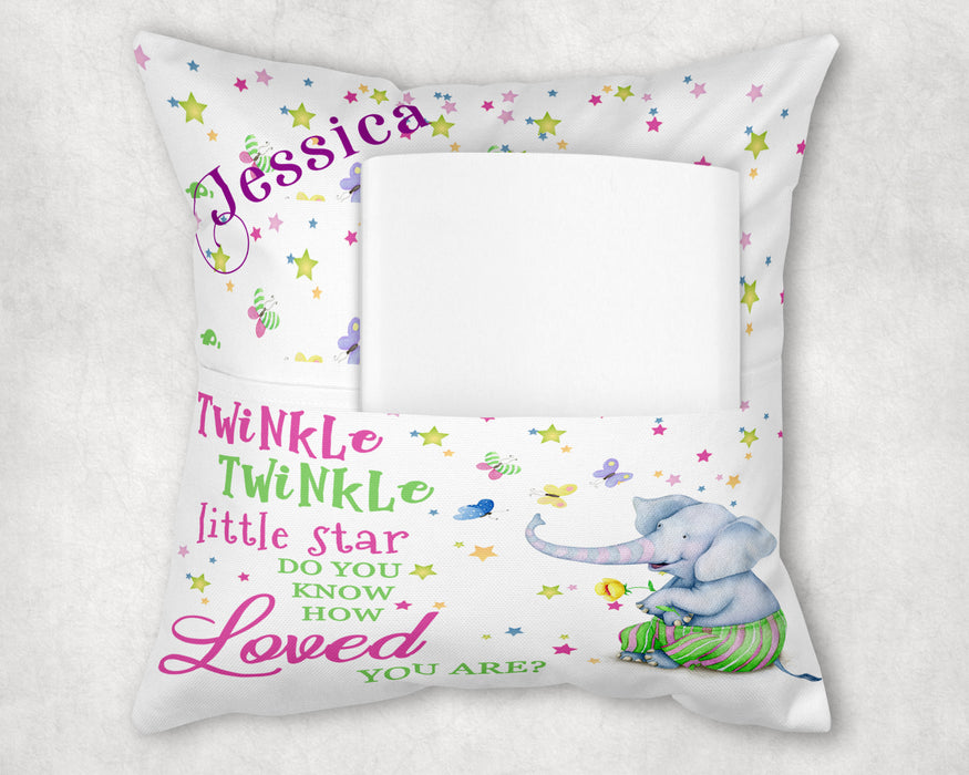 Personalized Pocket Pillow - Elephant and Butterflies