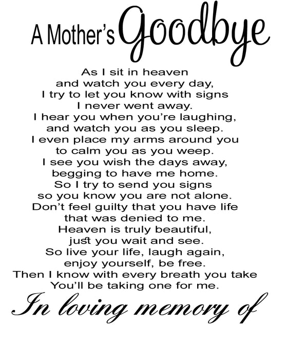 A Mother's Goodbye - Memorial Gift