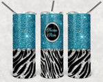 Teal Sparkle 20oz, Stainless Steel Tumbler, with clear lid and metal straw.