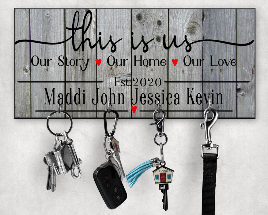This Is Us Personalized Key hanger with 4 Silver Hooks