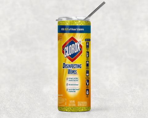 20oz Clorox/Lysol label skinny tumbler with stainless steel straw