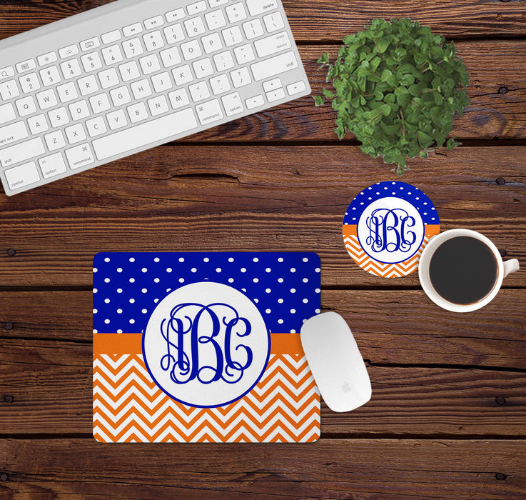 Orange and Blue Mouse Pad and Coaster Set