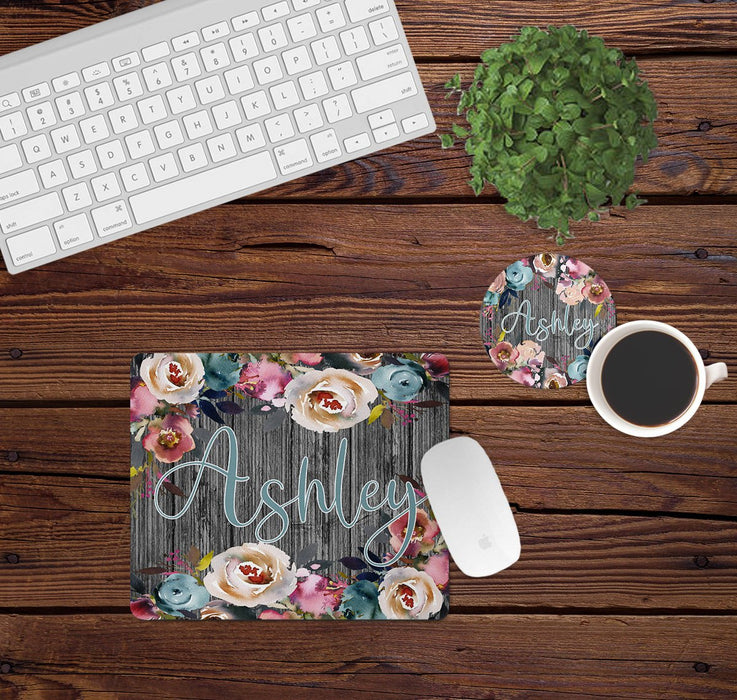 Floral Mouse Pad and Coaster Set