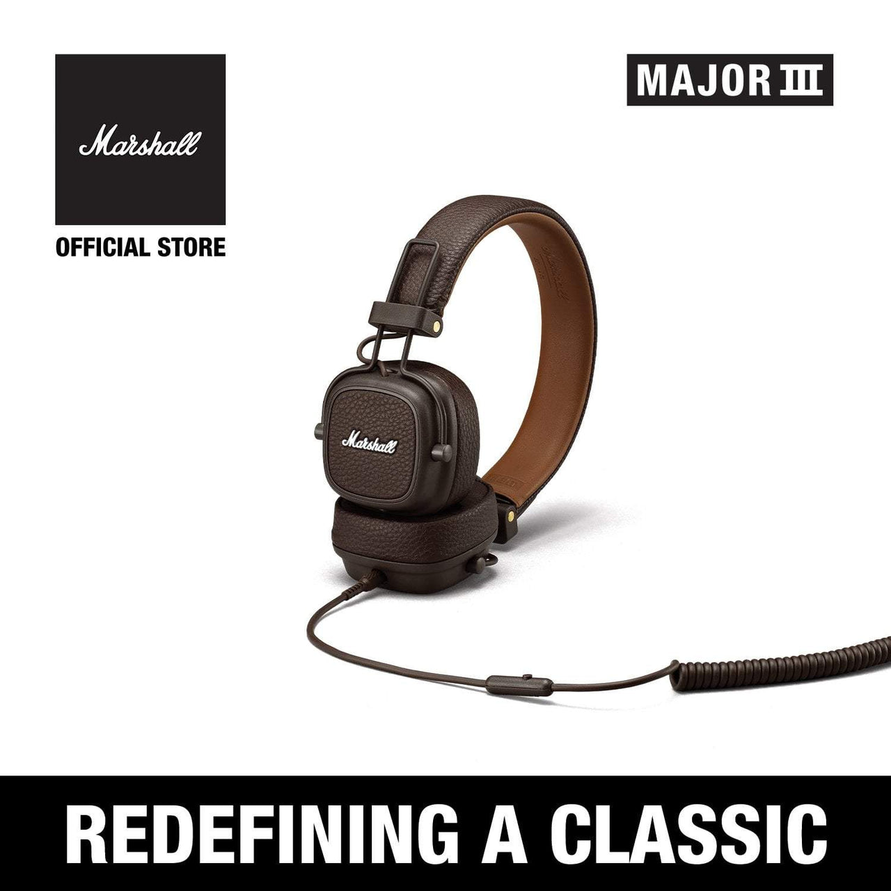 Major III Wired Brown [Exclusive Partner], Headphones, Marshall Headphones, ASH Asia