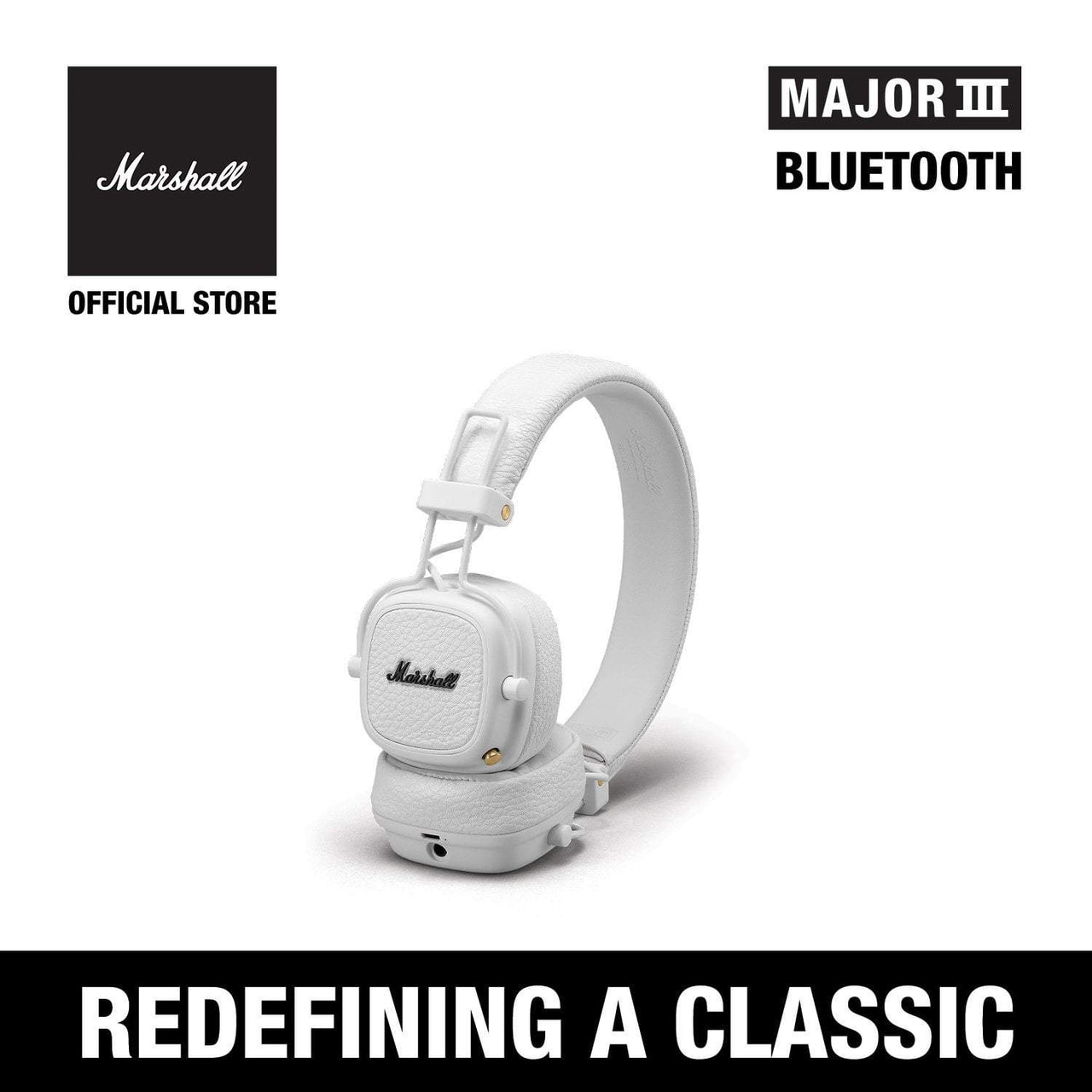Major III Bluetooth White [Exclusive Partner], Headphones, Marshall Headphones, ASH Asia
