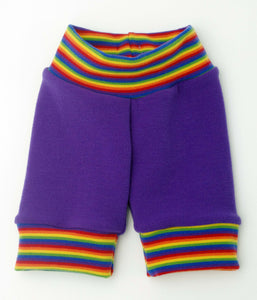 "2yo: Cuffed Longie Shorts + 1"" cuff inseam in Rainbow Purple + Rainbow"