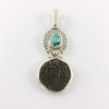 Turquoise & Ancient Coin Sterling Silver Pendant