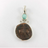 Turquoise & Ancient Shiva Nandi Coin Sterling Silver Pendant