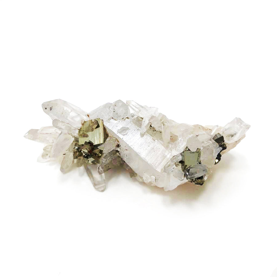 Pyrite and Clear Quartz Cluster