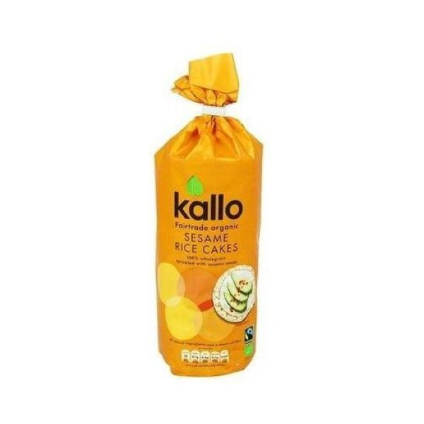 Kallo Foods Organic Rice Cakes With Sesame Sea Salt 130g x 6