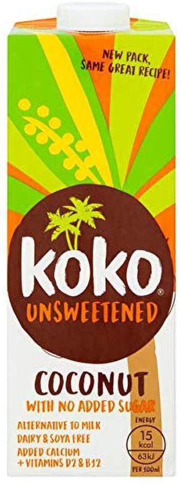 Koko - Koko Dairy Free Unsweetened Coconut Milk with No Added Sugar (1 Litre)