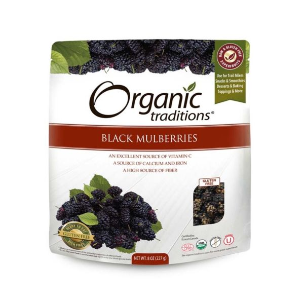 Organic Traditions Organic Dried Black Mulberries 227g