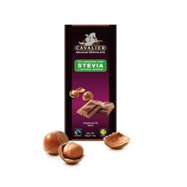 Cavalier Delicious Beligian Stevia Milk Chocolate Hazelnut Tablet 85g x 14