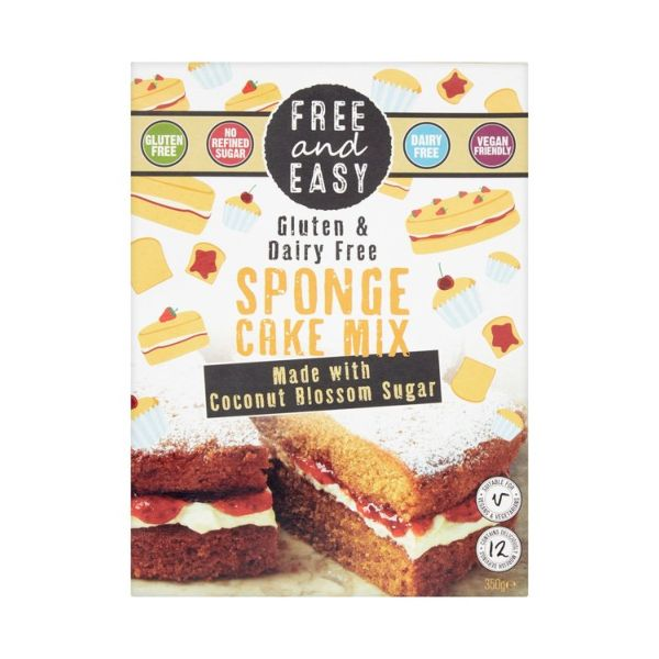 Free & Easy Gluten & Dairy Free Sponge Cake Mix With Coconut Blossom 350g