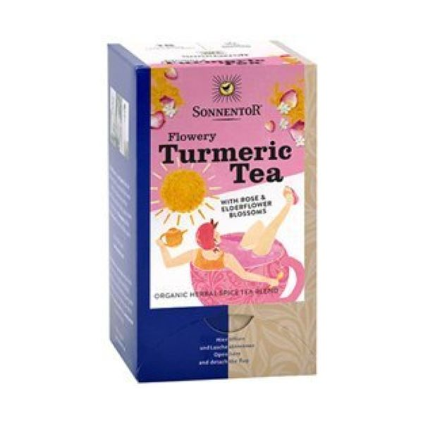 Sonnentor Org Flowery Turmeric Tea With Rose & Elderflower Blossom 18x2g