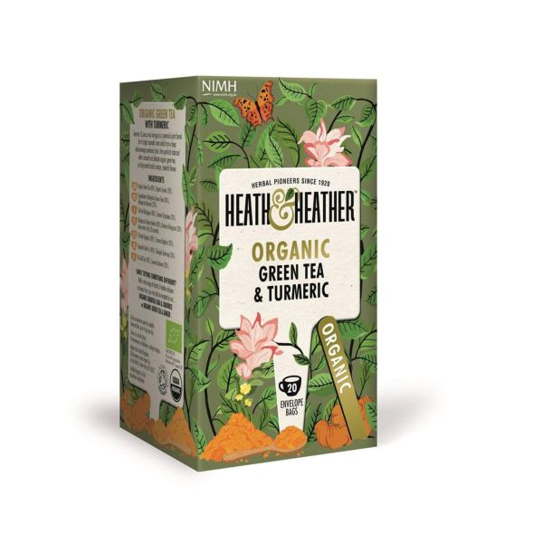 Heath & Heather Organic Green Tea & Turmeric 20bags