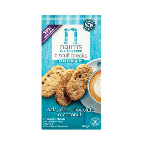 Nairns Oatcakes Gf Oats Dark Choc & Coconut Biscuit Breaks Chunky 160g
