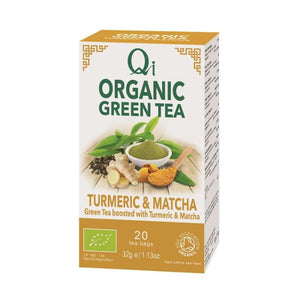 Qi Herbal Health Organic Green Tea Turmeric & Matcha 20 Teabags