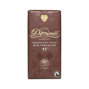 Divine Chocolate Fair Trade Fairtrade High Cocoa Milk Chocolate Bar 90g x 15