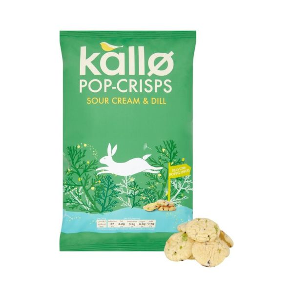 Kallo Foods Pop Crisps Sour Cream & Dill 85g x 8