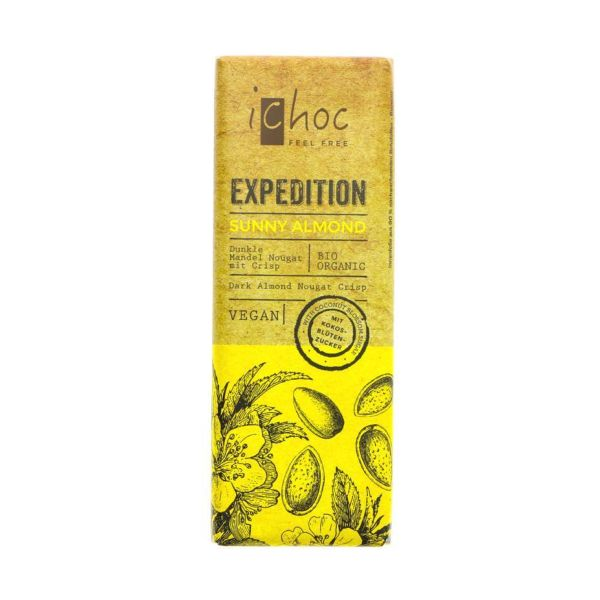 Vivani Ichoc Expedition Sunny Almond Dark Almond Nougat With Crisps 50g x 15