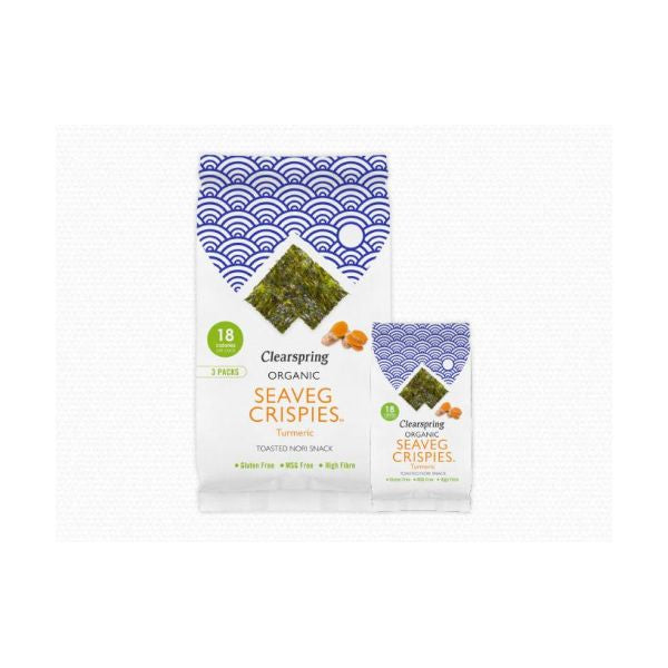 Clearspring Wholefoods Organic Seaveg Crispies Multipack Turmeric 3 x 4g x 8