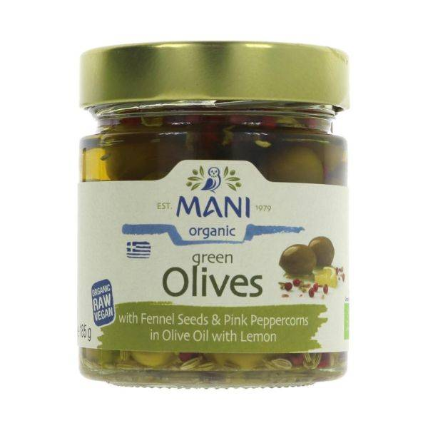 Mani - Organic Green Olives With Fennel Seeds & Pink Peppercorns In 185g