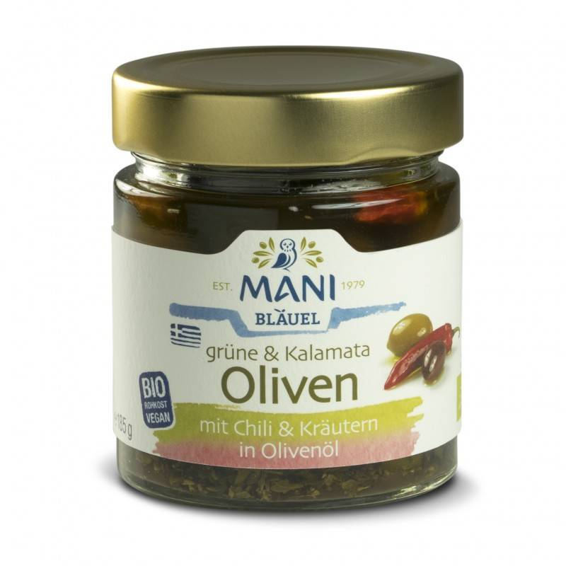 Mani - Organic Green & Kalamata Olives With Chilli & Herbs In Olive 185g