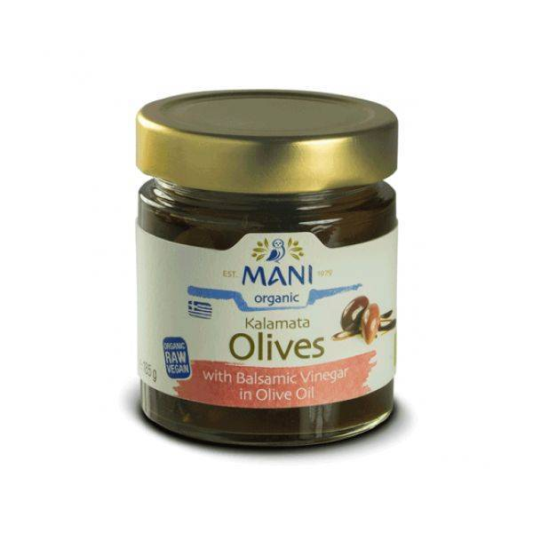 Mani - Organic Kalamata Olives With Balsamic Vinegar In Olive Oil 185g