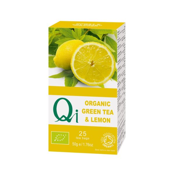 Qi Herbal Health Organic Fairtrade Green Tea + Lemon 25bags
