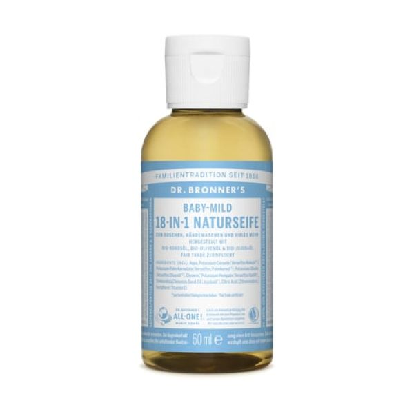Dr Bronners Organic Baby/Unscented Castille Liquid Soap 60ml x 12