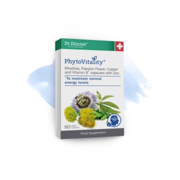 Dr Dunner Phytovitality Rhodiola, Passion Flower, Copper & Vitamin B With Zinc 60 Capsules
