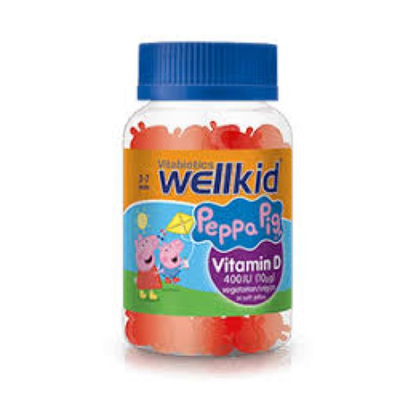 Vitabiotics Wellkid Peppa Pig Vitamin D Strawberry Flavour 400iu 30 Jellies