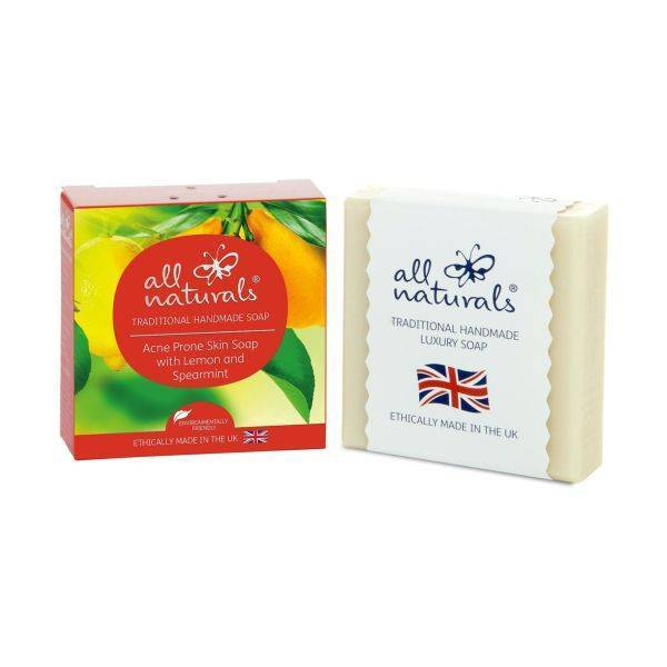 All Natural - Lemon & Spearmint Acne Natural Organic Soap Bars 100g