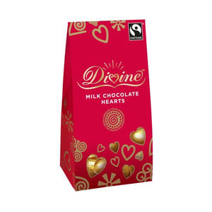Divine Chocolate Fair Trade Milk Chocolate Hearts 100g x 12