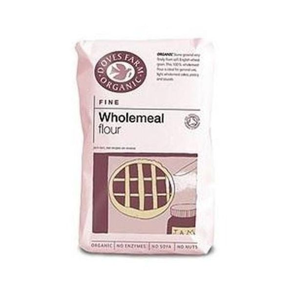 Doves Farm Organic Fine Plain Wholemeal Flour Stoneground 1kg x 5