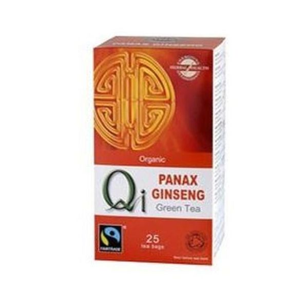 Qi Organic Fairtrade Green Tea With Ginseng 25 Teabags